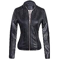 Marte&Joven Women's Lightweight Slim Faux Leather Motorcycle Biker Zip Up Jacket Coat