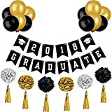 Maxdot 2018 Graduation Banner Graduate Themed Banner and Tissue Paper Pom Poms Flowers, Gold Foil Tassels, Balloons for Graduation Ceremony Party Supplies, 25 Pieces Totally