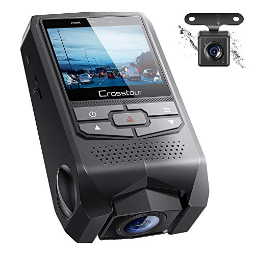 ドライブレコーダー 前後カメラ デュアルレンズ ドライビングレコーダー 170度広角ドラレコ 1080PフルHD Crosstour 緊急録画 防犯カメラ 駐車監視 動体検知 G-sensor機能 ループ録画 操作簡単 Drive Recorder (ブラック)