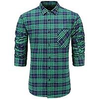 Emiqude Men's Casual Flannel Cotton Slim Fit Long Sleeve Plaid Dress Shirt