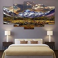 Jason Ming キャンバスプリント5パネルの氷山ポスターとプリント絵画草原風景写真用リビングルームホームインテリア