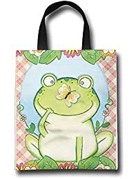 WACRDG Shopping Handle Bags,Butterfly-Frog-Summer Personalized Tote Bag