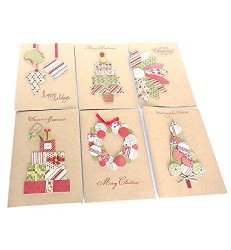 クリスマスカード セット クラフト コラージュ風 (6枚組 ...