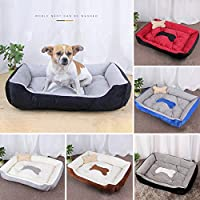 hamulekfae-素敵な骨ペット犬猫長方形犬小屋巣柔らかい暖かい睡眠クッションベッド - ブルー+グレーXS