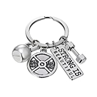 (Strong) - Rinhoo Charm Keyring White Gold Plated Exercise Fitness Weighted Barbell Dumbbell Lovers Letter New Punk