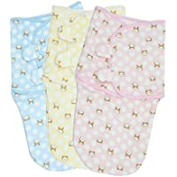 LUXEHOME Super Soft Baby Adjustable Swaddle Cotton Blanket, Set of 3 by LUXEHOME