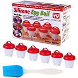 6 PCS Egg Cooker Hard Boiled Egglettes Eggs Maker AS SEEN ON TV BPA Free Non Stick Hard & Soft Boil Eggies Make Without Shell Kitchen tools Food Safe Silicone Poacher Egg Cups Steamer with Free Pastry brush Set Red And White