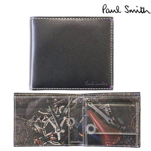 ポールスミス 財布 Paul Smith 二つ折り財布(小銭入れあり) メンズ レザー ブラック