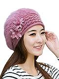 (ムコ) MUCO ベレー帽子 無地 ニット 防寒 保温 おしゃれ ふわふわ 心地いい 花付 耳まで隠れる レディースハット 女性べれー(5カラー) purple