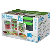(20-Piece Green) - Sistema 65601 Food Storage Containers, 20-Piece Green, Clear