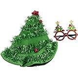 クリスマスパーティーコスチュームアクセサリー – 2ピースセット クリスマスツリーハットとお祝いの眼鏡 ホリデー衣装 ギャグギフト ホワイトエレファントギフト