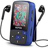 Bluetooth 8GB MP3 Player with Clip,AGPTEK A50 Music Player with FM Radio & Voice Rocorder, Slot up to 64GB for Sport(Dark Blue)