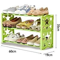 3ティア靴ラックフリーコンビネーションオーガナイザーシェルフプラスチックシェルフストレージ靴キャビネット(グリーン)60 * 19 * 35cm