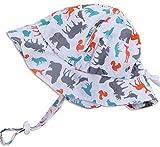 幼児用 50+ UPF 日光予防帽子 Sun hat、 サイズの調整可能、チン・ストラップ付き( M: 6-36ヶ月, 動物のシルエット )