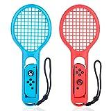Nintendo Switch Joy-Con専用 ラケット型アタッチメント マリオテニスラケット 軽量 耐久性 テニスゲームの臨場感 ハンドストラップ付 Joy-Conハンドル グリップ 2点セット bedee