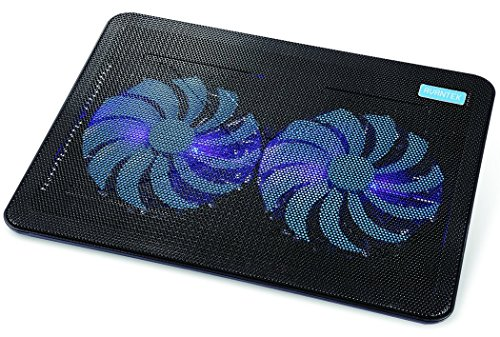 AVANTEK 冷却ファン 冷却パッド 超静音ファン 青色LEDライト付き USB接続 1000 RPM 17インチまで対応 デュアル160mm (2ファン) CP_02