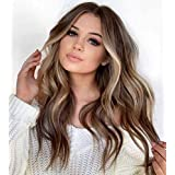 SIYAN Ombre Mix Ash Brown Wave Wig, Long Curly Gradient Blonde Wigs for Women Natural Daily Costume Cosplay Wigs Synthetic Heat Resistant Wigs (26 Inches)