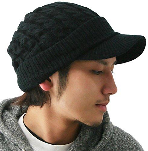 ピースクロージング ツバ付き細ケーブルニット帽子ジープ 男女兼用 メンズ レディース ブラック