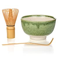 Matcha Tea Ceremony Gift Set with Chasen Whisk & Scoop (3, Green) by Tealyra