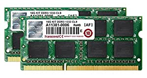 Transcend ノートPC用メモリ PC3-10600 DDR3 1333 16GB 1.5V 204pin SO-DIMM Kit (8GB×2pcs) (無期限保証) JM1333KSH-16GK