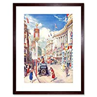 Painting Regent Street 1937 Coronation London England Framed Wall Art Print