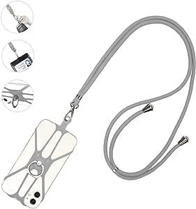 ネックストラップ スマホ COCASES 4.0-6.5インチの携帯電話適用 長さ可調節 肩から斜め掛け可能 リング付き 携帯に首掛ける 使いやすく着脱簡単 滑り止め 落下防止 全機種対応 (グレー 1本)
