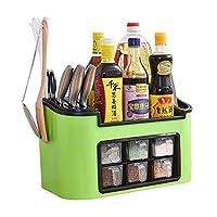 WENZHE キッチン収納りキッチンラック収納棚キッチンラックワゴンシーズニングボックスナイフシート箸ドリルプレートストレージ多機能家庭用品、39.5 * 20 * 23cm (色 : Green)