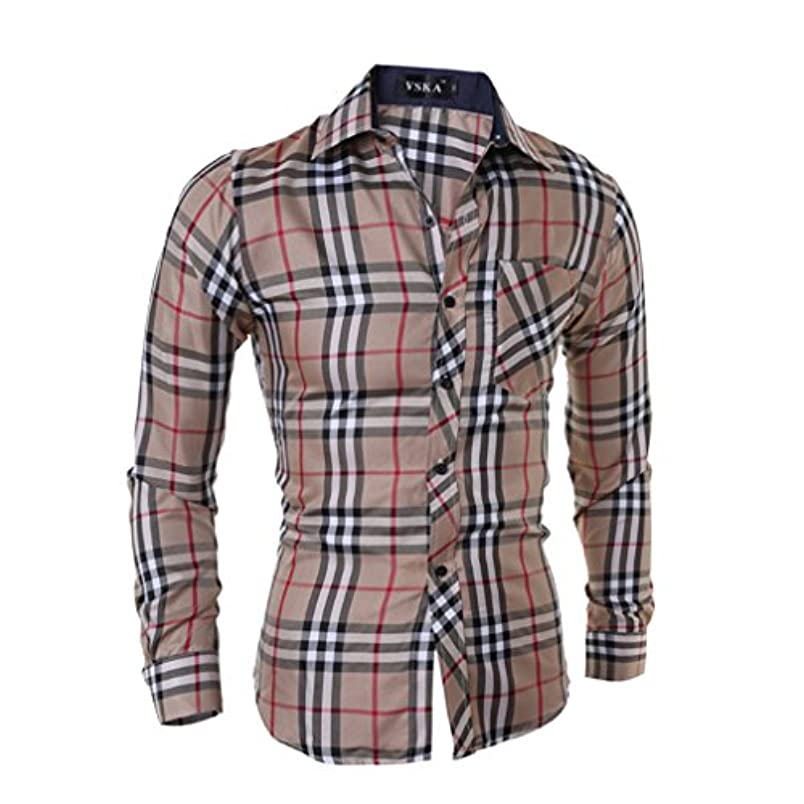 かもしれない形成知覚Honghu メンズ シャツ 長袖 チェック柄 スリム カーキ XL 1PC