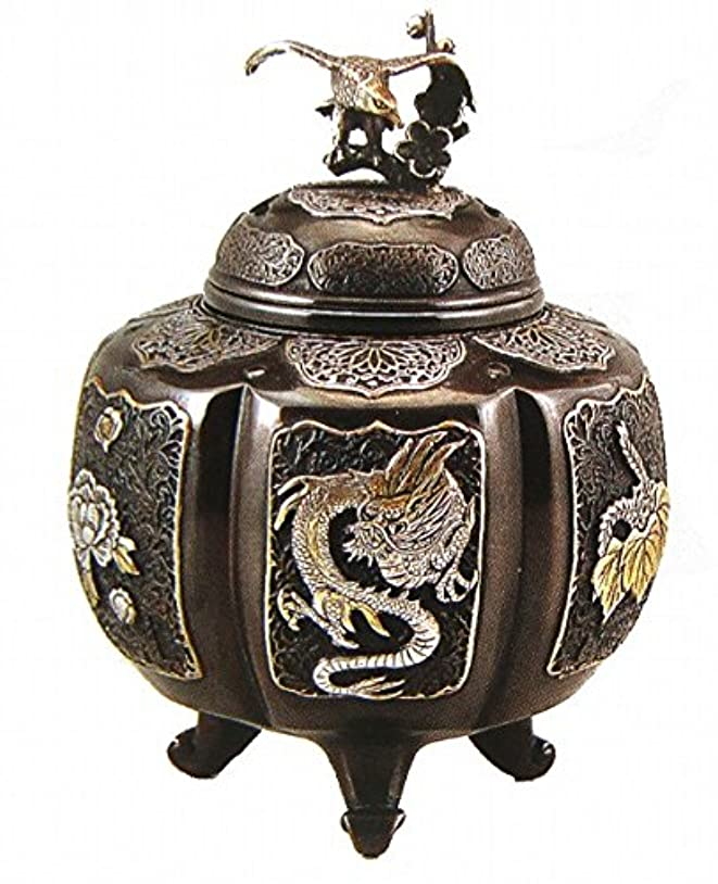 立場キャメル重々しい『六面吉祥地紋香炉』銅製