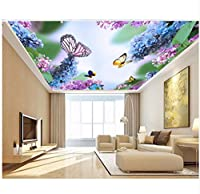 Wuyyii 3D寝室の壁紙カスタム写真美しい紫色の藤蝶天井壁画3D壁壁画壁紙For壁3 D