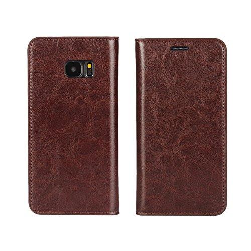 DeftD Galaxy S7 edge 用 SC-02H docomo SCV33 au ケース 本革 レザー 手帳型 携帯 カバー シンプル ビジネス風 耐衝撃 横開き カード収納 スタンド機能 スマホケース ブラウン