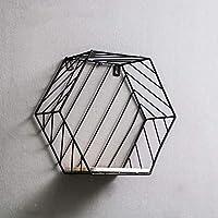 ウォールシェルフ ノルディックイン鍛造鉄創造的な六角形の壁の棚/壁装飾フレーム、ディスプレイスタンド(29 * 12 * 25.5センチメートル)。 (色 : 黒, サイズ さいず : A)