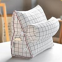 クッション・クッションカバー 日本の綿クッションヘッドボード三角枕クッションオフィスケア腰単純なファッションクッション (Color : 白)