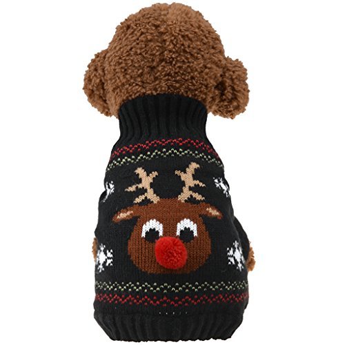 Austrake 犬の服 クリスマス トナカイ セーター 秋冬服 ドッグウェア 4サイズ選択可能