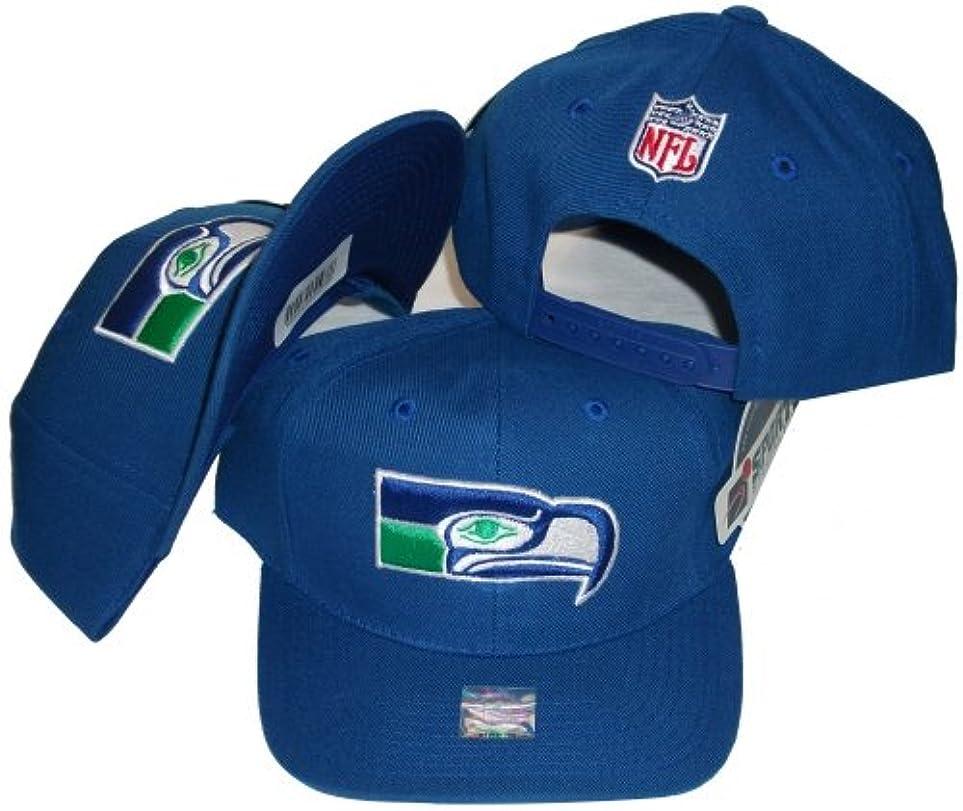 シェルターアッティカス店員Seattle SeahawksソリッドブルーVintage Deadstockスナップバックキャップ/帽子by Sports Specialties
