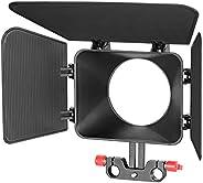 Neewer Plastic 15 mm Rail Rods Matte Box for Canon Nikon Sony Fujifilm Olympus Panasonic DSLR Camera,Camcorder