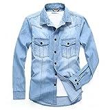 (ホンモーク) Homaok(JP) デニムシャツ ウエスタンシャツ ヴィンテージ加工 シャツ 長袖 色落ち カジュアル デザイン メンズ XL スカイブルー