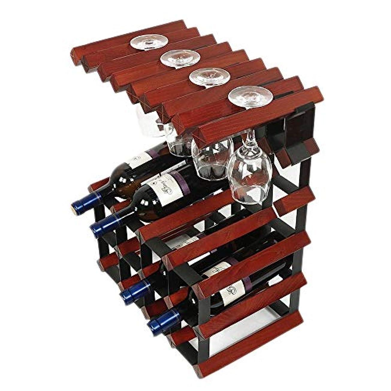 ペッカディロリーチ幸運WZB家庭用木製ワインラック ゴブレットラック ワインカップホルダー12本ボトルホルダー41.7×23.5×51.2cm A +(カラー:C)