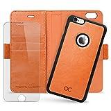 iPhone6s ケース / iPhone6 ケース OCASE 「磁気で取り外せるケース」 手帳型ケース 「強化ガラスフィルム付き」 スタンド機能付き カードホルダー アイフォン6s / アイフォン6 ケース カバー マグネット式 ウォレット財布型 オレンジ