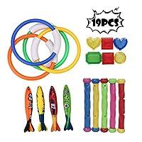 Wotryit 19ピース ダイビングおもちゃセット 夏 楽しい 水中 沈む スイミング プール おもちゃ 子供用