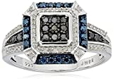 Sterling Silver with Blue and White Diamonds Square Shape Ring (1/2cttw I-J Color I3 Clarity) Size 7