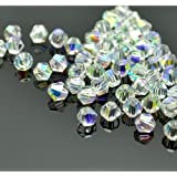 XinBoWen DIY 4mm 1000Pcs Bulk Faceted Bicone Crystal Glass Beads with Container Box Beads for Making Jewelry White