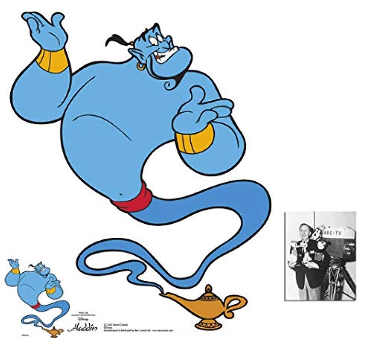 Aladdin Genie クラシック公式ディズニー ライフサイズ 段ボールカットアウト/スタンドファンパック 88cm x 72cm 無料のミニカットアウトと8x10の写真付き