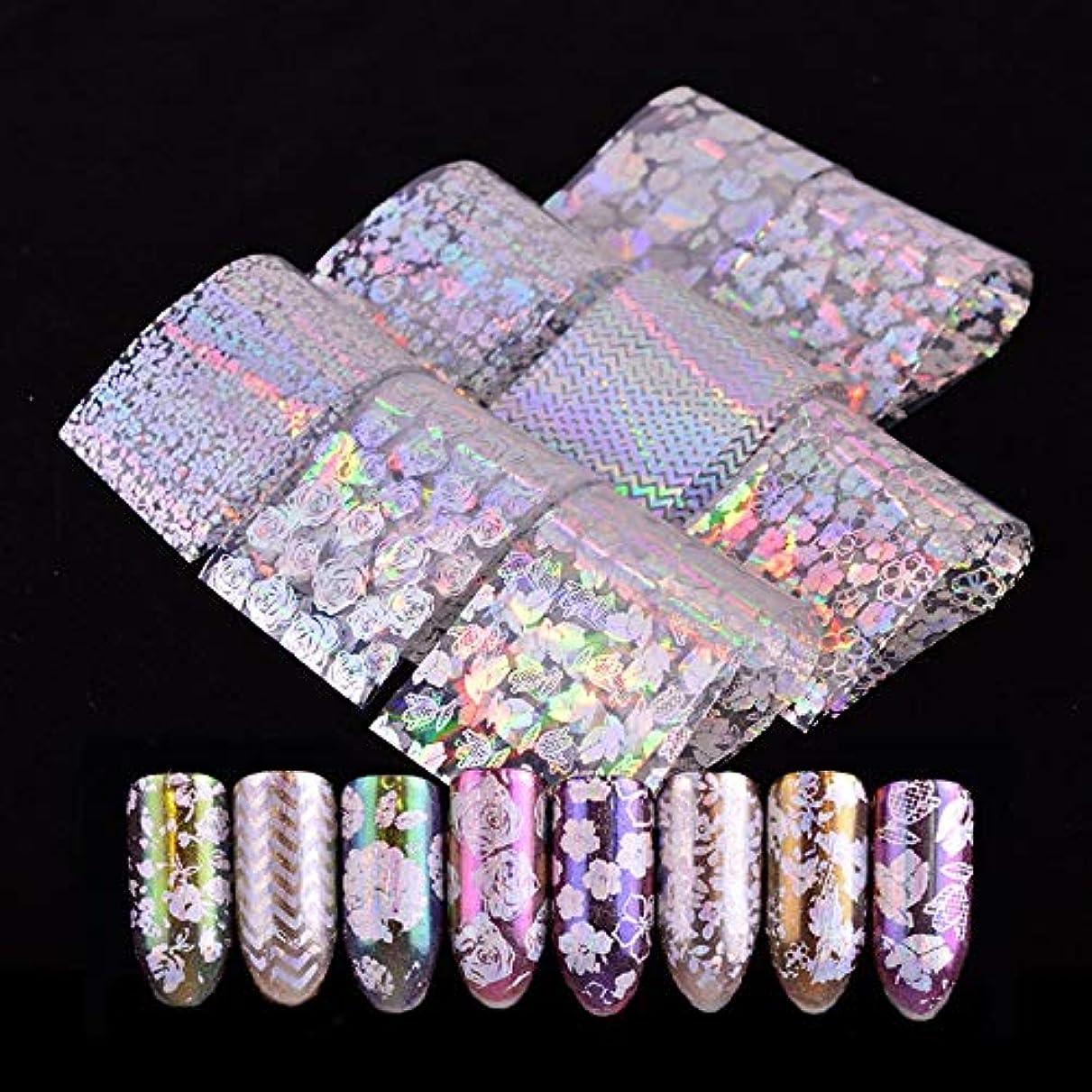 免疫百万入力8ピースレーザーネイルホイルホログラフィック転写アートステッカーカラーグラデーションフラワーローズデザイン透明なヒントの装飾マニキュアソルト
