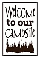 """Wall Decor Plus More WDPM3610 """"Welcome to our Campsite"""" Vinyl Wall Decal, 23"""" x 15"""", Choc Brown [並行輸入品]"""