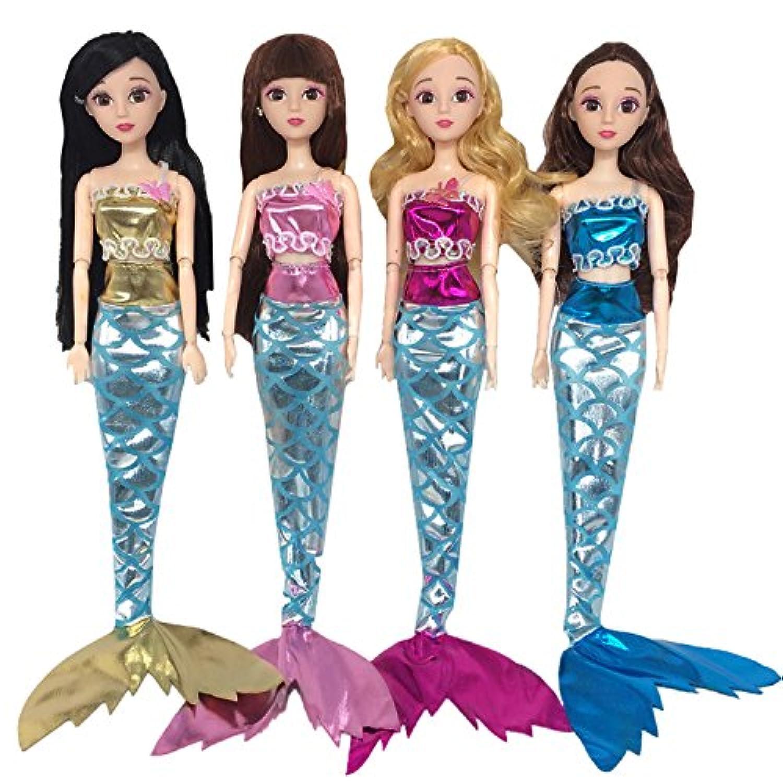 ゴシレ Gosear 4 セット バービー女の子誕生日クリスマス クリスマス プレゼントおもちゃの色女の子人形服マーメイド スタイルの衣装服おもちゃアクセサリーの盛り合わせ