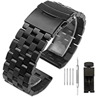 Brushed Stainless Steel Watch Band Strap 18mm/20mm/22mm/24mm/26mm Metal Replacement Bracelet with Double-Lock Deployment Clasp for Men Women Black/Silver