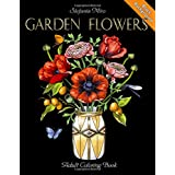 Garden Flowers: Adult Coloring Book (Black Background)
