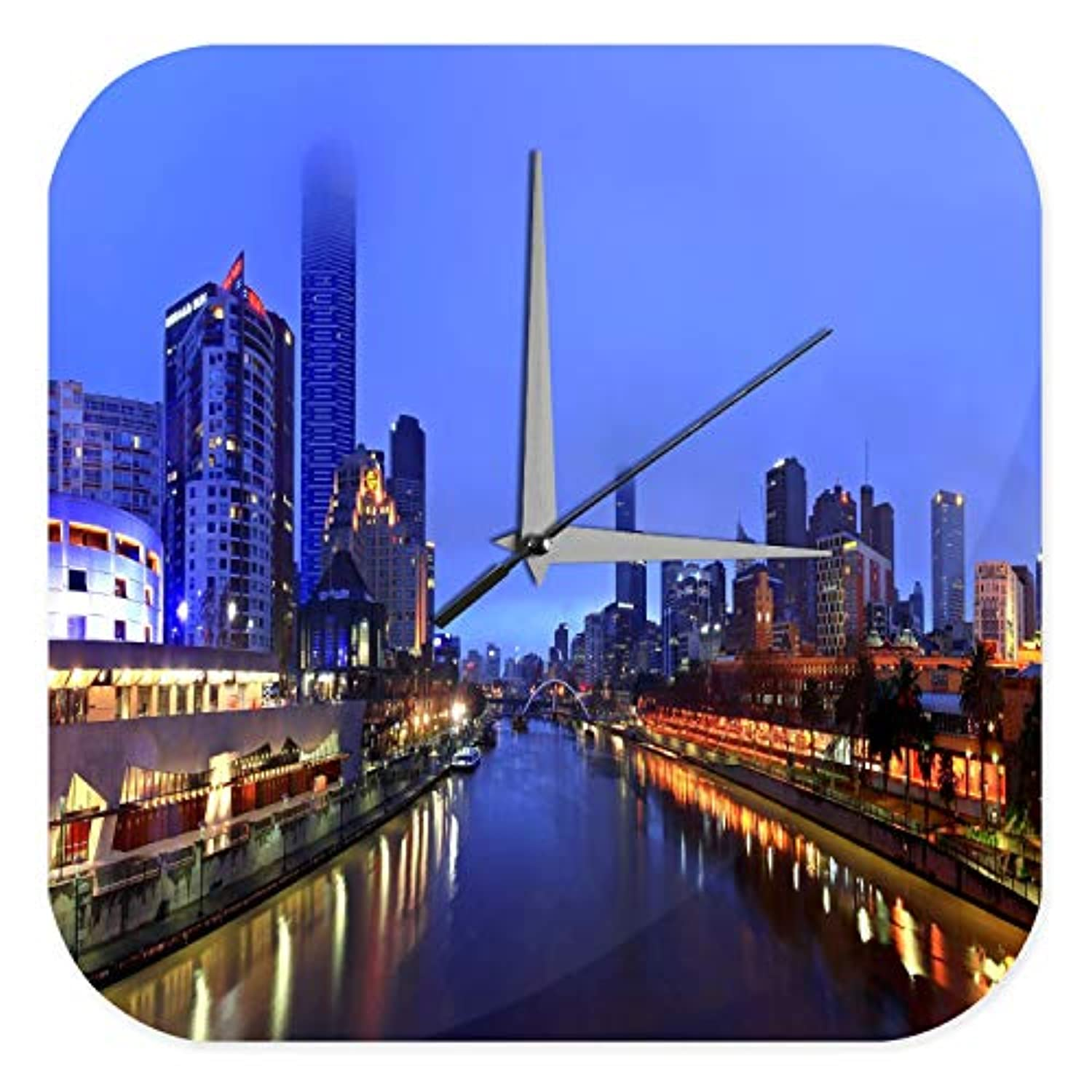 wall clock Picture Skyline Night Lights Harmony Vintage Decoration 10x10