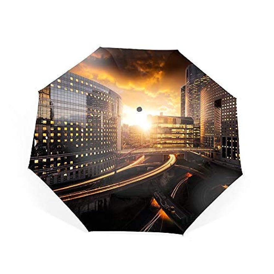 フロントに賛成ヘビ折りたたみ傘 日傘 UVカット 晴雨兼用 軽量 パリ近代建築ビジネスセンター 防風傘 紫外線対策 スカイスター傘 ポータブル レディース